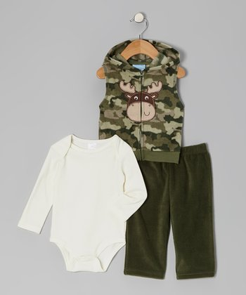 Green Moose Fleece Vest Set - Infant