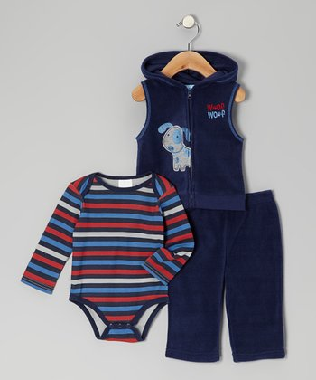 Navy Puppy Fleece Vest Set - Infant