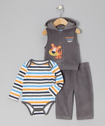 Gray Tiger Fleece Vest Set - Infant