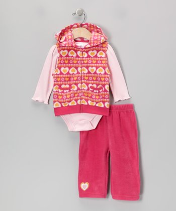 Red Heart Fleece Vest Set - Infant