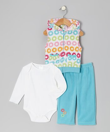 Teal Flower Fleece Vest Set - Infant