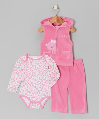 Pink Kitty Fleece Vest Set - Infant