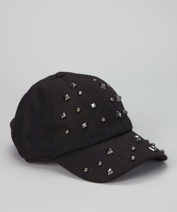 Black Studded Wool-Blend Baseball Cap