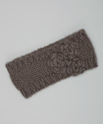 Gray Knit Rosette Head Wrap