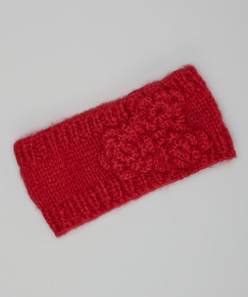 Ruby Red Knit Rosette Head Wrap