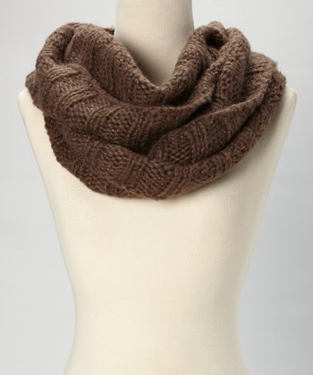 Chocolate Knit Infinity Scarf