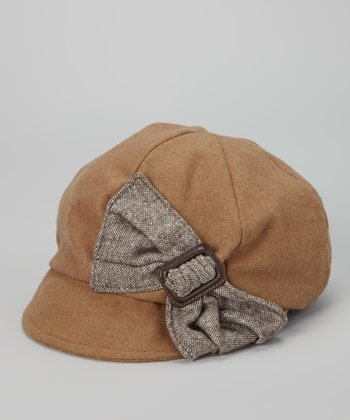 Brown Bow Wool-Blend Newsboy Cap
