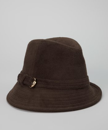Chocolate Buckle Felted Wool-Blend Fedora