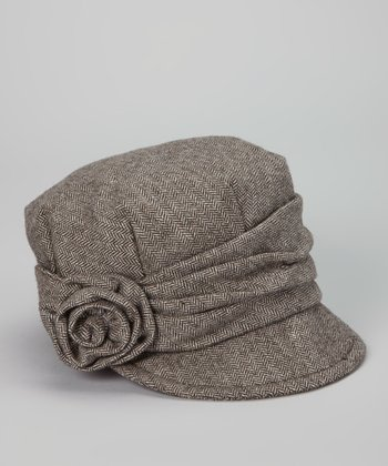 Brown Herringbone Rosette Wool-Blend Cadet Cap