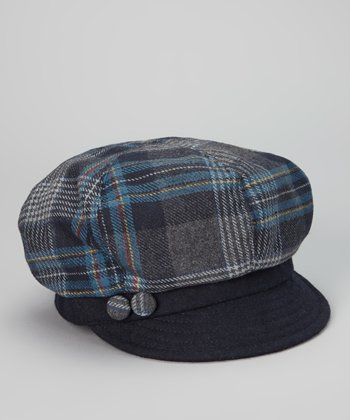 Navy Plaid Wool-Blend Newsboy Cap