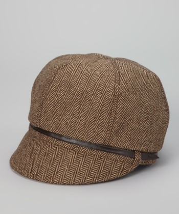 Brown Herringbone Jockey Cap