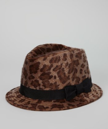 Brown Leopard Faux Fur Fedora