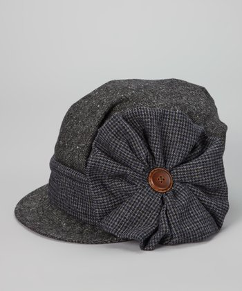 Black Houndstooth Bow Wool-Blend Jockey Cap
