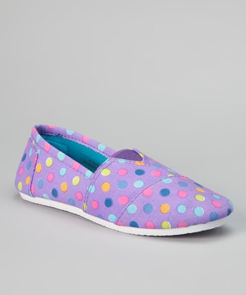 Purple Polka Dot Slip-On Sneaker