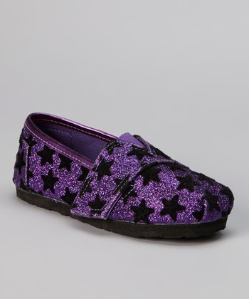 Purple Star Glitter Slip-On Sneaker