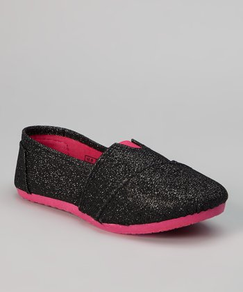 Black & Peach Shimmer Slip-On Shoe
