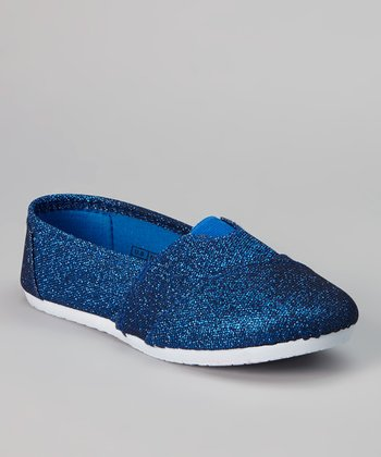 Royal Blue & White Shimmer Slip-On Shoe