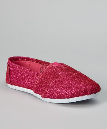 Peach & White Shimmer Slip-On Sneaker