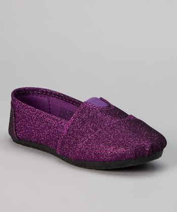 Purple & Black Shimmer Slip-On Shoe