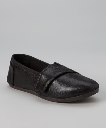 Black Metallic Slip-On Sneaker