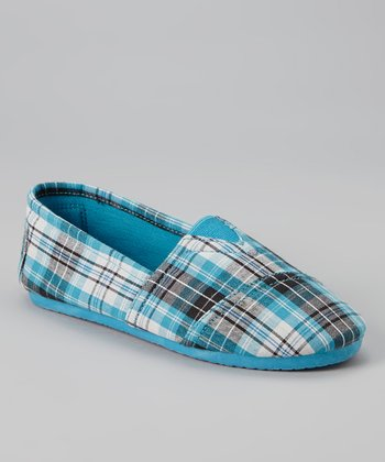 Turquoise Plaid Slip-On Sneaker