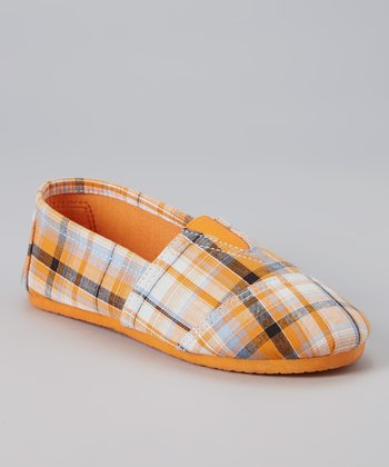 Orange Plaid Slip-On Sneaker