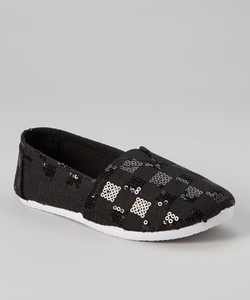 Black Checkerboard Sequin Slip-On Sneaker