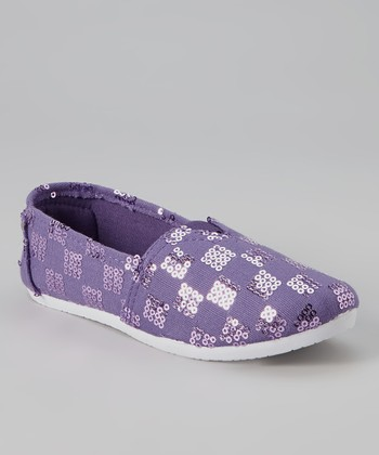 Purple Checkerboard Sequin Slip-On Sneaker