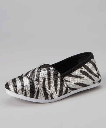 Silver Zebra Sequin Slip-On Sneaker