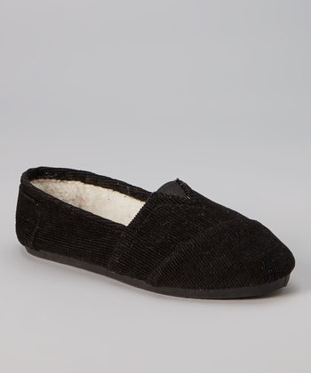 Black Corduroy Slip-On Shoe