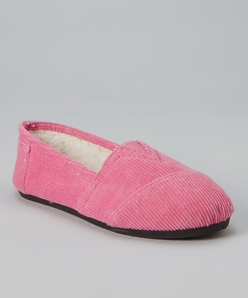 Fuchsia Corduroy Slip-On Shoe