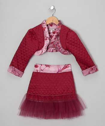 Burgundy Flower Shrug & Tulle Skirt - Toddler & Girls