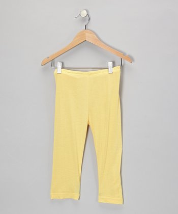 Little Handprint Yellow Capri Pants - Toddler & Girls