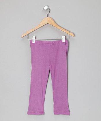 Little Handprint Lavender Capri Pants - Toddler & Girls