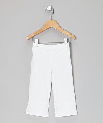 Little Handprint White Cuff Pants - Toddler & Girls