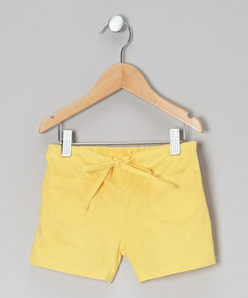 Little Handprint Yellow Pocket Shorts - Toddler & Girls