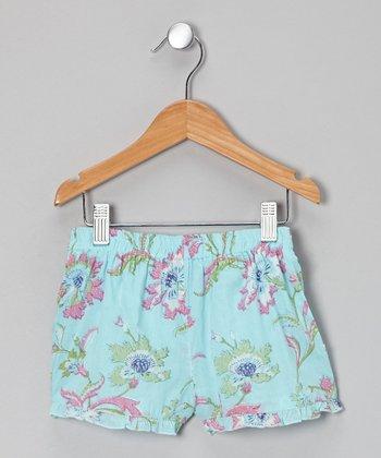 Little Handprint Blue Lily Frill Shorts - Toddler & Girls