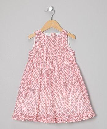 Little Handprint Pink Beehive Pin Tuck Dress - Toddler