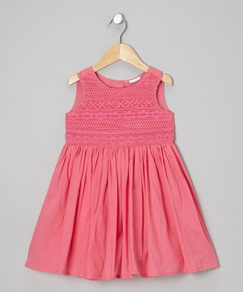 Little Handprint Raspberry Lace Dress - Toddler & Girls