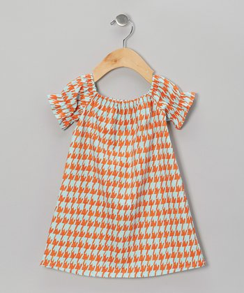 Orange Houndstooth Peasant Dress - Infant, Toddler & Girls