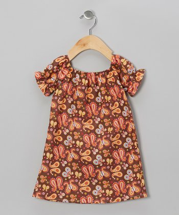 Brown & Pink Butterfly Peasant Dress - Infant, Toddler & Girls