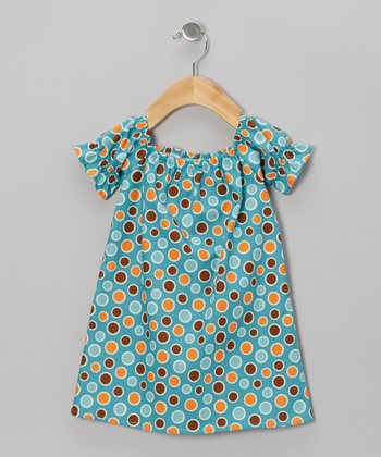 Turquoise Polka Dot Peasant Dress - Infant, Toddler & Girls