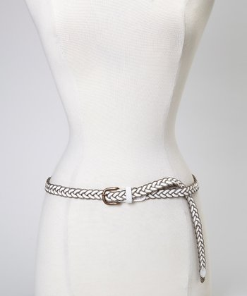 White Metallic Amber Belt