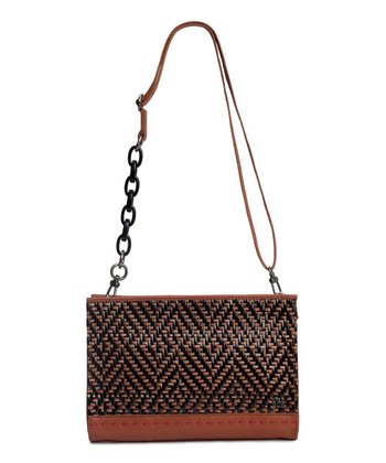 Black & Natural Woven Iris Demi Clutch