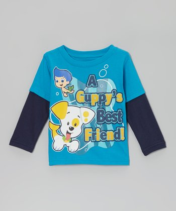 Blue 'Best Friend' Guppies Layered Tee - Toddler