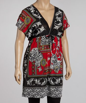 Red & Black Status Tunic - Plus