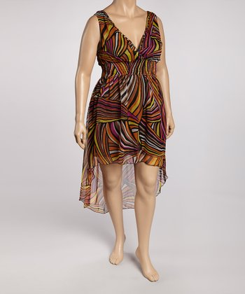 Orange & Yellow Abstract Stripe Hi-Low Dress - Plus