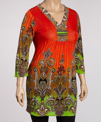 Orange & Green Arabesque Tunic - Plus