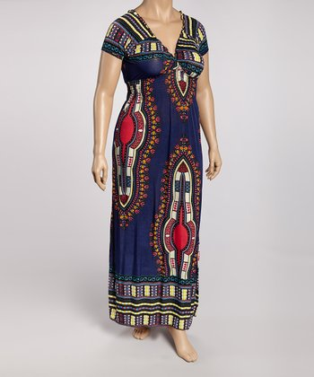 Navy & Pink Tribal Maxi Dress - Plus
