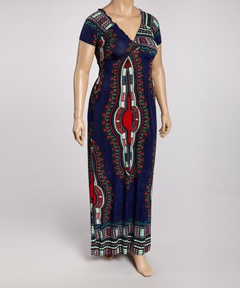 Navy & Red Tribal Maxi Dress - Plus